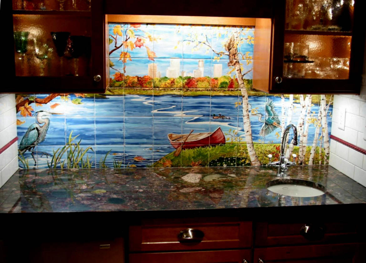Heron lake custom tile mural for Custom photo tile mural