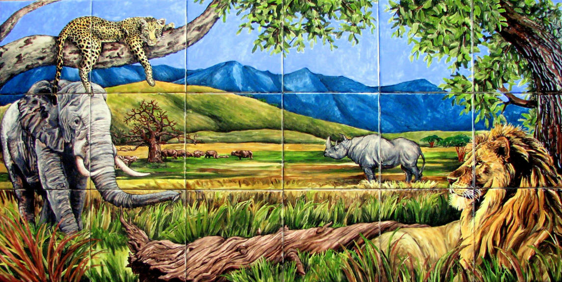 African safari tile mural for African wall mural