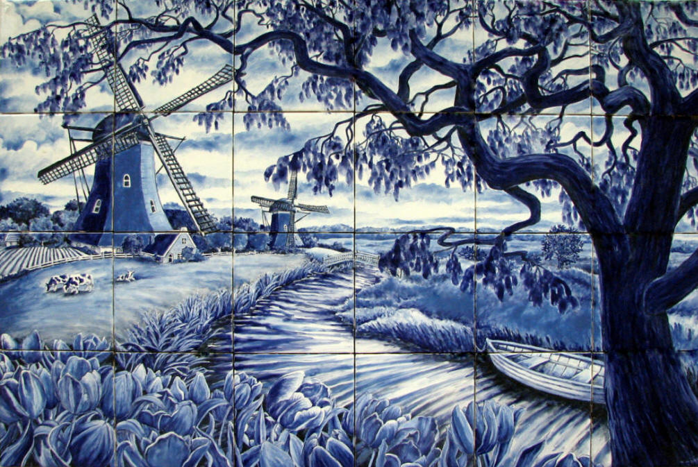 Delft windmills landscape for Delft tile mural