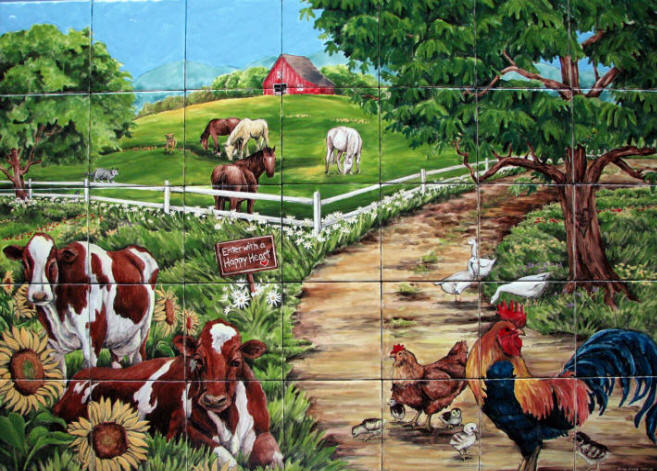 Farm Tile Mural Custom, hand painted ceramic tile mural