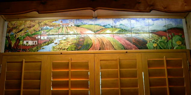 Mexican landscape custom tile mural for Custom photo tile mural