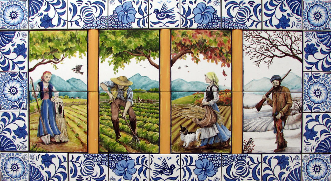 Seasons custom tile mural for Delft tile mural