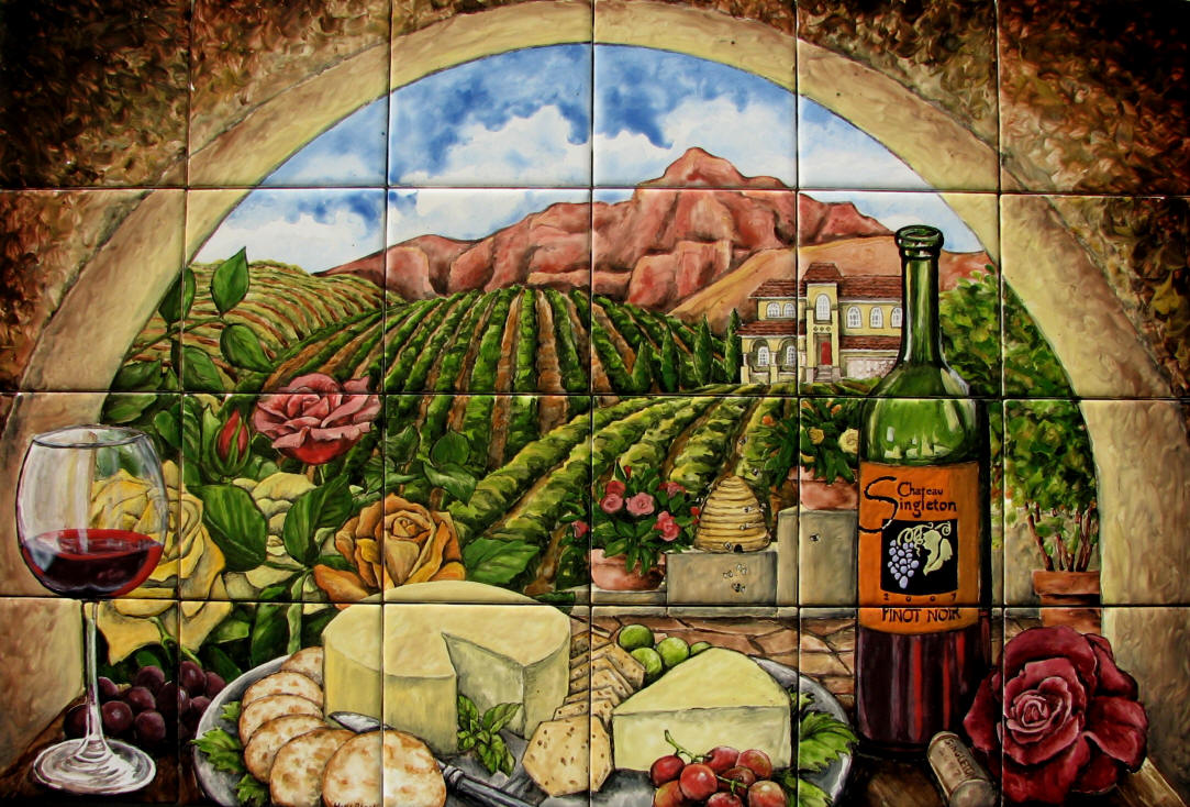 Wine and cheese w roses tile mural for Backsplash mural