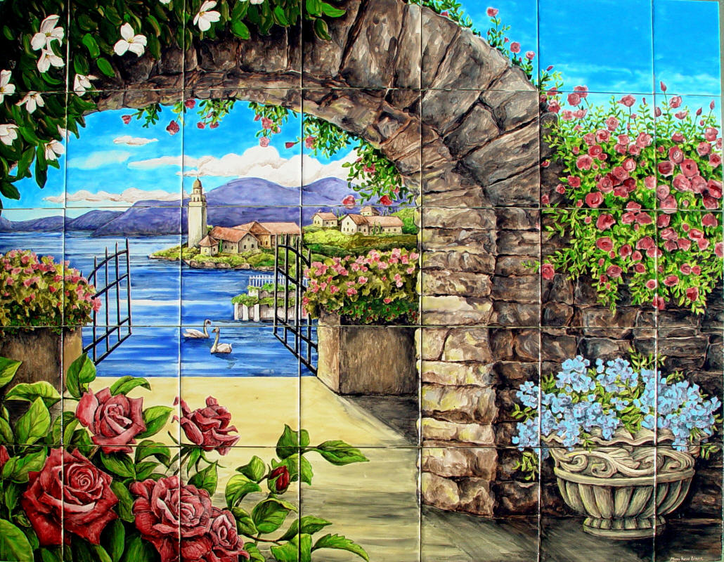 Arch w climbing roses hand painted tile mural for backsplash for Decorative tile mural