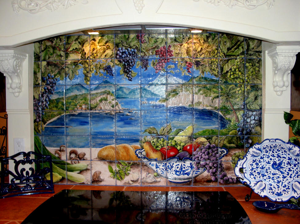 Tiles by mimi tile murals custom hand painted tiles home for Ceramic mural designs