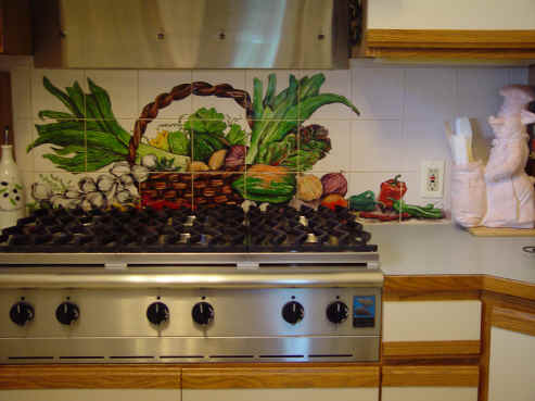 Vegetable Basket Tile Mural