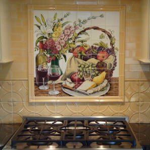 Chizmar still life custom tile mural for Custom photo tile mural